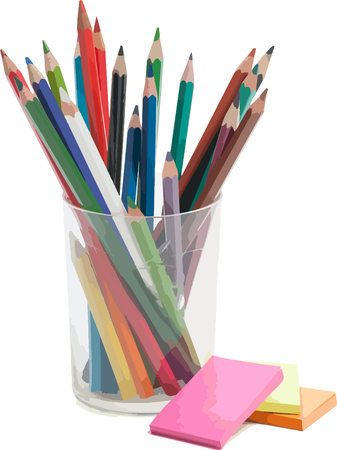 office paper: Beautiful pencils in the glass and nice office paper