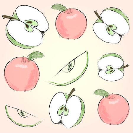 freefall: Nice fresh apples on the colored background