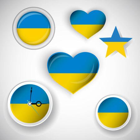 ukrainian flag: Nice icons set of Ukrainian flag