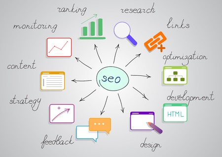 Seo diagram with bright pictures Illustration