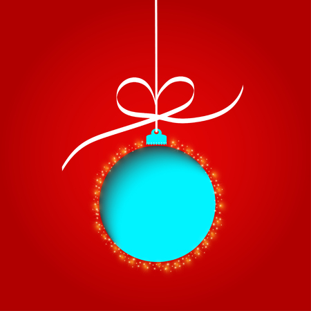 Nice red christmas ball on the red background Vector