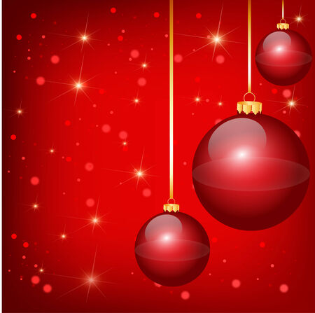 Nice red christmas balls on the red background Vector