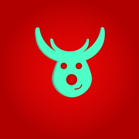 smilling: Nice  and smilling  deer on the red background Illustration