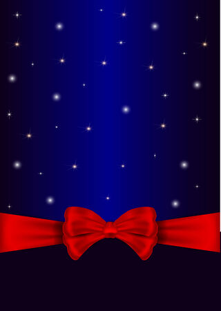 Nice red bow for holiday on the blue background Vector