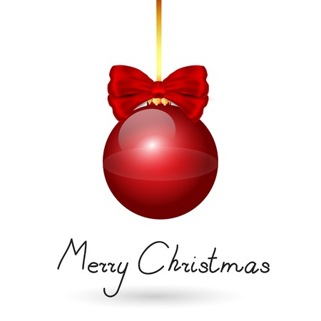 Nice red christmas balls with red bow on the white background Vector