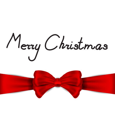 christma: Nice red bow on the  greeting card