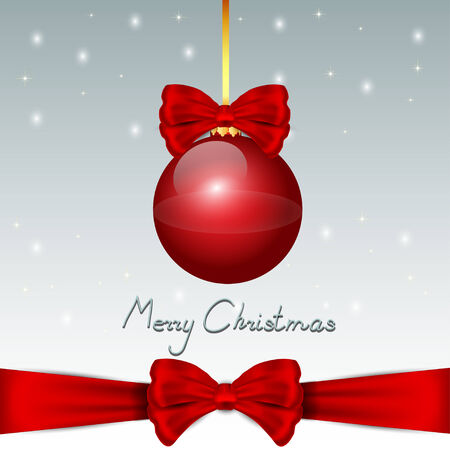 christma: Nice red christmas balls with red bow on the snow background Illustration