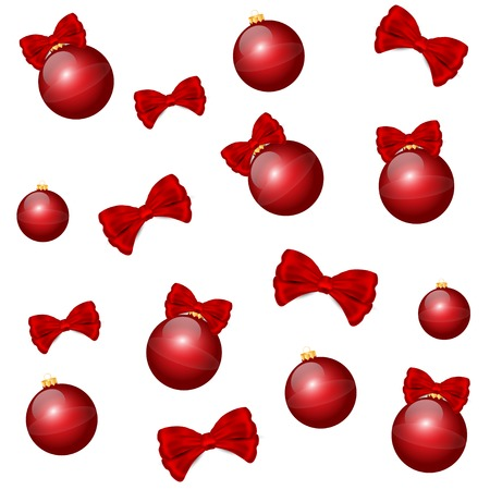 Nice  red christmas balls background Vector