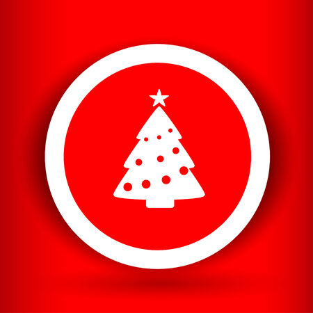 Nice  Christmas tree on the red background Vector