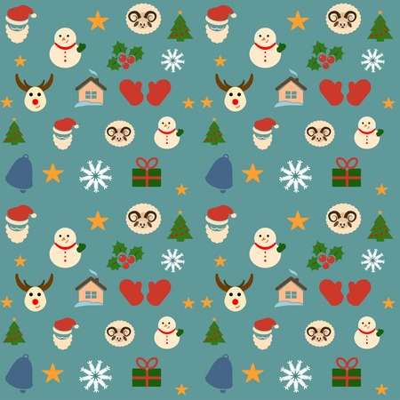 funny christmas: Collection of funny christmas icons on background