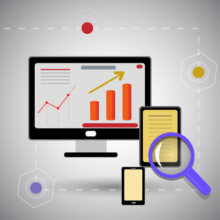 search optimization: search optimization with bright pictures Illustration