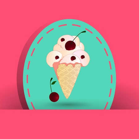 raisin: cherry icecream on the pink background Illustration