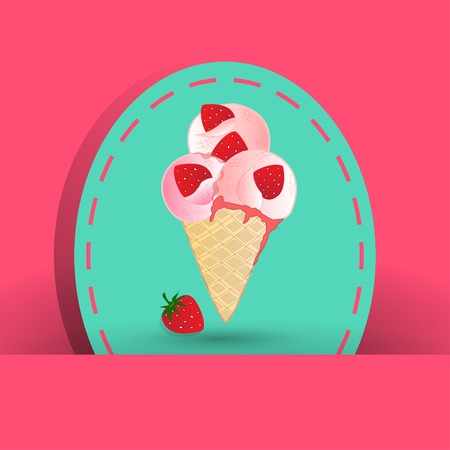 raisin: strawberry icecream on the pink background Illustration