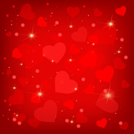 a holiday greeting: Many pretty red valentines hearts
