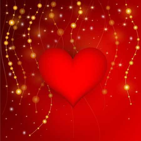 Nice red  background with sparkles and pearls Vector