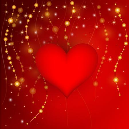 semaforo rosso: Nizza sfondo rosso con scintillii e perle Vettoriali