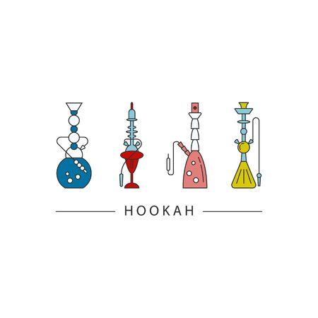 turkish ethnicity: Set of hookah icons isolated on white background.