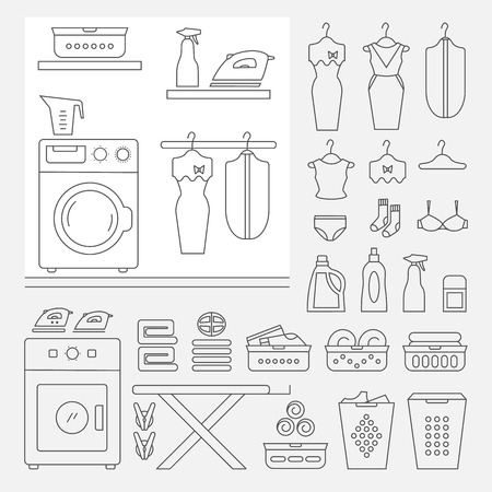 laundry room: Elements for laundry interior, and a large set of laundry icons. Laundry room interior vector. Laundry room interior element isolated. Illustration