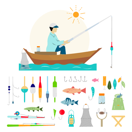 Big collection of fishing gear and other fishing related. Fisherman in a boat fishing: fishing rod, hooks, bait, boat, fish,  water. Vector flat illustrations. Illustration