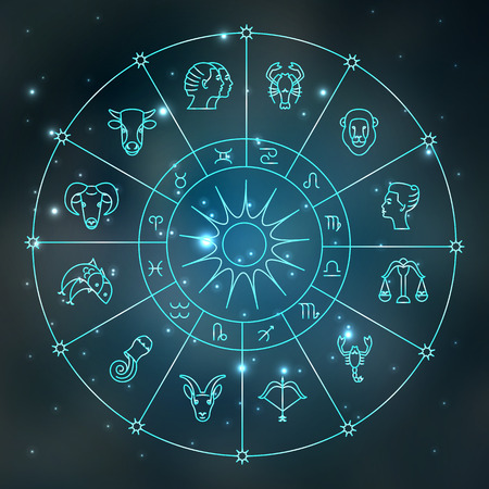 zodiacal: Zodiacal circle with astrology signs. Vector design element isolated on background. Zodiac Signs.