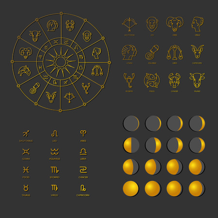 zodiacal: Vector illustration set icons phases of the Moon, zodiacal symbols, Zodiacal circle.