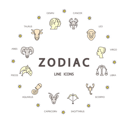 signes du zodiaque: vecteur ligne mince symboles zodiacaux. Astrologie, horoscope signe, éléments de conception graphique, modèle d'impression. Signes du Zodiaque isolé sur fond. Illustration