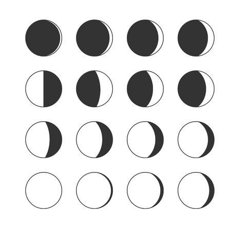 moon phases: Moon phases icon night space astronomy and nature moon phases sphere shadow. The whole cycle from new moon to full moon. Gibbous icon vector