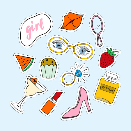 Set of stickers, patches hand-drawn. Set of stickers, pins, patches in cartoon 80s-90s comic style. Illustration
