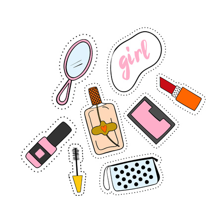 nineties: Fashion accessories patches set. Design kit of various accessory stickers or badges: lipstick,  cosmetics, perfume,  shoe.
