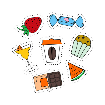 Set of stickers, patches hand-drawn, strawberries, cocktail, chocolate, candy coffee watermelon cake Illustration