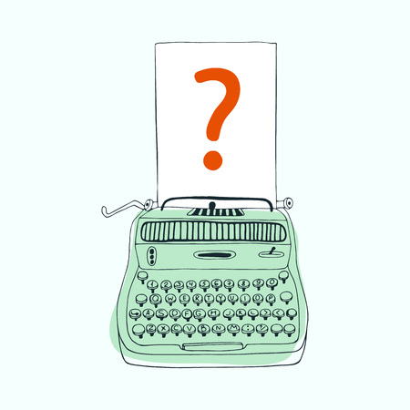 type writer: Question mark  cartoon vector and illustration,  hand drawn, sketch style.