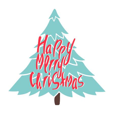Greeting card: Merry Christmas.  Card for winter holidays. Vector cartoon illustration. Illustration