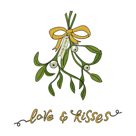 White mistletoe.  Christmas hand lettering with decorative design elements. This illustration can be used as a greeting card, poster or print. Illustration