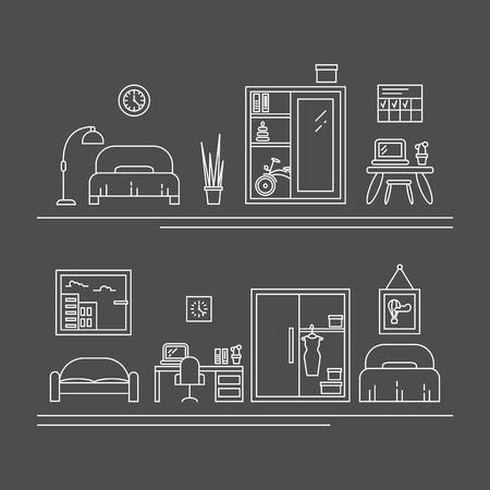 womens work: Vector banner with thin line icons. Interior decoration elements, living room, furniture and decor for apartment. Womens room concepts with bed, work place, wardrobe, sofa.