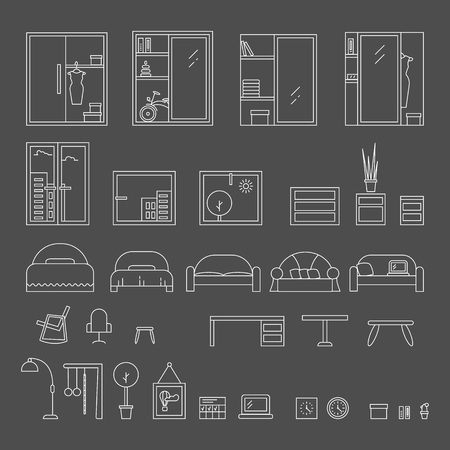 desig: Big set of icons line the interior. Outline vector graphic concept of living room interior desig