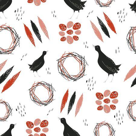 Quail seamless pattern. Vector illustration.Bright repeating texture with birds. Ilustração