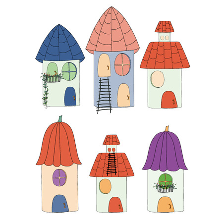 artoon: Collection artoon of cute houses . Vector illustration