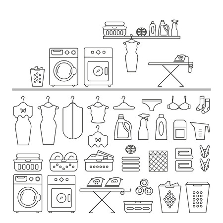 bleach: Elements for laundry interior, and a large set of laundry icons. Laundry room interior vector. Laundry room interior element isolated. Illustration