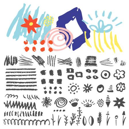 argyle: Set hand drawn scribbles and geometric elements. Illustration