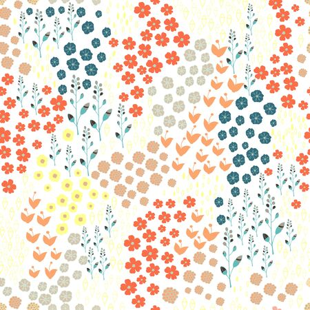 illustraion: Trendy Seamless Floral Pattern in vector in doodle style. Illustration