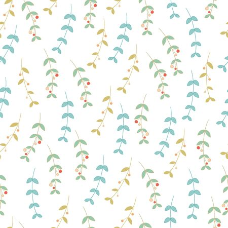 Trendy Seamless Floral Pattern in vector in doodle style. Vettoriali