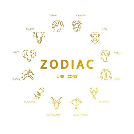 zodiacal: Vector zodiacal symbols. Astrology, horoscope sign, graphic design elements, printing template. Zodiac Signs  isolated on background. Illustration