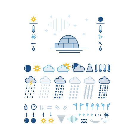 Mega pack of weather icons with White Background.  Vector line style pictograms. Clean and easy to edit.
