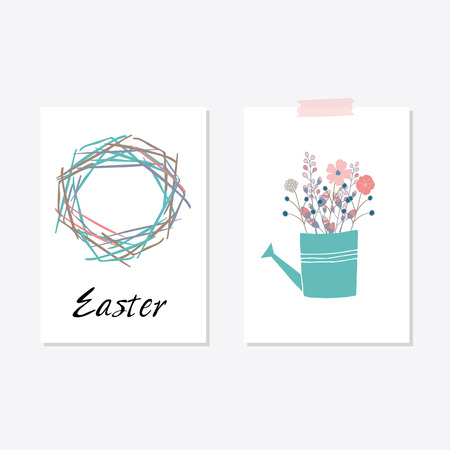 Set of cards templates with cute flowers, eggs, bird and rabbit. For romantic and easter design, announcements, greeting cards, posters, advertisement.
