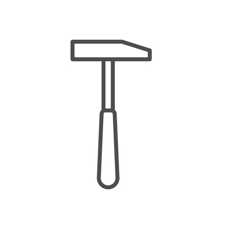 claw hammer: Vector line style icon with hammer. Vector illustration on white background.