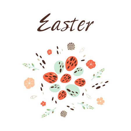 Happy Easter. Vector illustration on white background.