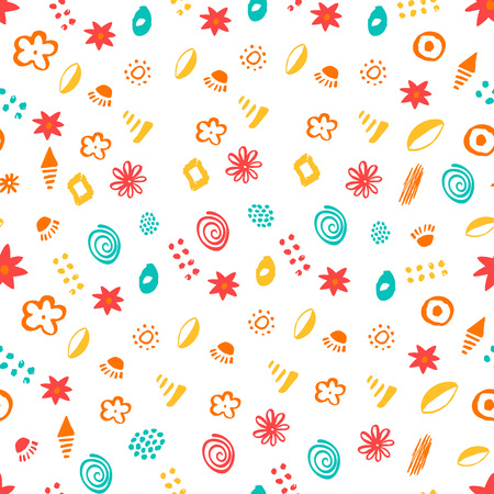 Seamless vector patterns. Hand-drawn textures.