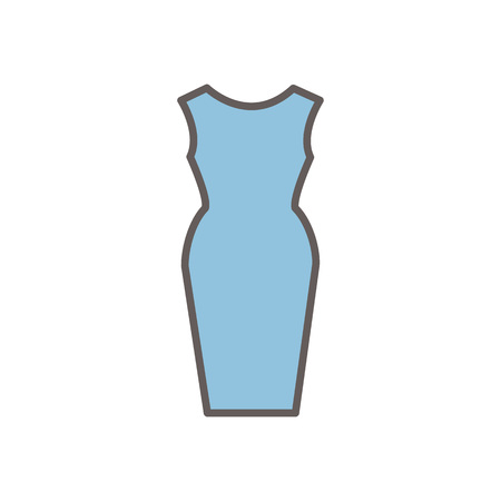 Vector line style icon with dress. Vector illustration on white background. Illustration