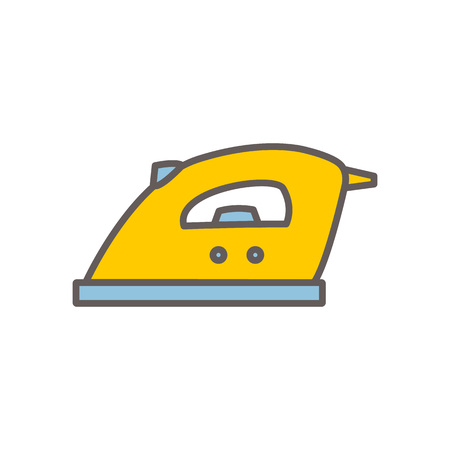 Vector line style icon with iron. Vector illustration on white background. Illustration