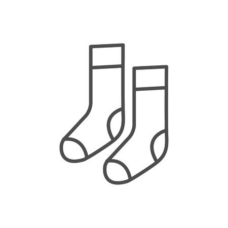 Vector line style icon with socks. Vector illustration on white background.